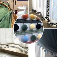 DIY Pom Pom Ball Trim Braid Fringe Curtain Ribbon Sewing Tassel Balls Craft 1M