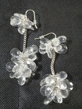 Lee Angel Women's Stone Cluster Lucite Drop Earrings NIP 150.00