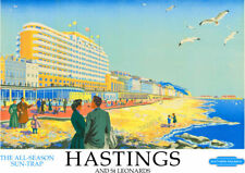 VINTAGE RAILWAY POSTER Hastings & St Leonards Train Travel ART Deco PRINT A3 A4