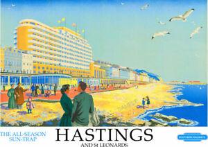 VINTAGE RAILWAY POSTER Hastings & St Leonards Train Travel ART Deco PRINT A3 A4