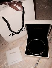 """PANDORA """"Unique As You Are"""" Sterling Silver Snowflake Bangle Christmas 2016"""