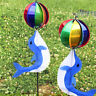 Cute Cartoon Dolphin Rainbow Wind Spinner Colorful Windmill Kids Outdoor Toys ^D
