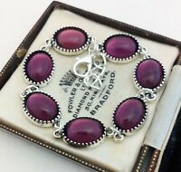 Vintage - 1970s CZECH Amethyst Purple Glass Small Oval Cabochon Bracelet
