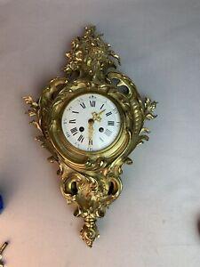 Antique French Gilt Ormolu Cartel Clock S Marti 1889 Serpent Bronze Louis XV