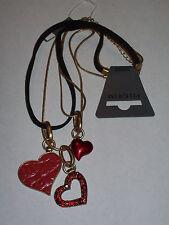 NWT Pilgrim Danish Design Multi-Chain/Strap Heart Pendant Necklace