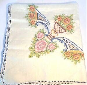 "Vtg Handmade Embroidered Tablecloth Vining Floral Cross Stitch Design 54"" x 52"""