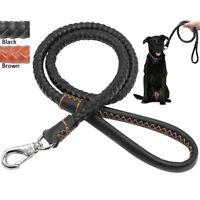 Braided Soft Leather Dog Leads Heavy Duty Pet Walking Leash Black Brown 3 Sizes