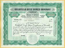1920 ERA GOLDFIELD DEEP MINES COMPANY OF NEVADA STOCK CERTIFICATE