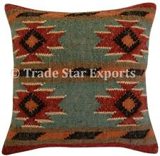 Indian Handwoven Kilim Pillow Case 18x18 Handmade Square Jute Rug Cushion Cover