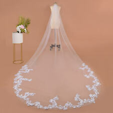 3M IVORY VOILE BRIDAL WEDDING VEIL WITH EMBROIDERED APPLIQUE LACE EDGING