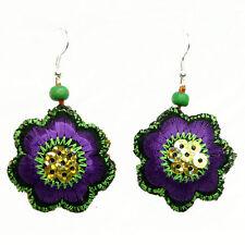 Boucles d'oreilles Femme légères fleurs tissu brodé violette vert paillette doré