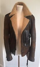 Ralph Lauren Purple Label Brown Shearling Bomber Jacket S