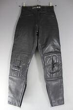 ASHMAN BLACK COWHIDE LEATHER BIKER TROUSERS SIZE 10:WAIST 26 IN/INSIDE LEG 30 IN