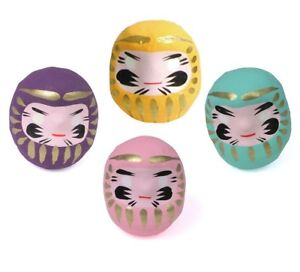 """SET of 4 Japanese 2""""H Lucky Daruma Doll Purple Yellow Green Pink Made in Japan"""