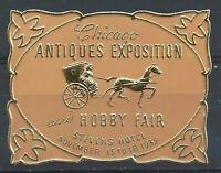 US 1939 Chicago Stivens hotel antiques exposition & hobby fair poster stamp MNH