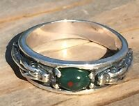 Medieval DRAGON Ring .925 Sterling Silver Sz 9 w/ Genuine Bloodstone Heliotrope