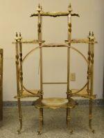 Antique Ornate Brass & Onyx Victorian Etagere