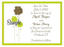 100 Personalized Custom Green Floral Bridal Wedding Save The Date Cards