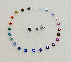 Titanium & Steel 4mm Crystal Stud Earrings, using Swarovski Elements, 23 colours
