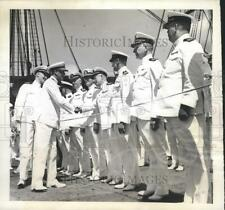 1942 Press Photo Wilson Brown greets other Naval officers after ceremonies