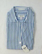 NEW FOXCROFT Women's Wrinkle Free Oxford Blouse Button Down Shirt Blue Stripe S