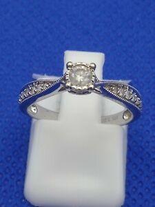 Ernest Jones 9 Carat White Gold 0.20 CT Diamond Ring Size J  2.0g