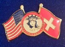 Coca Cola USA Liberty Flags of Freedom Ellis Island Switzerland Lapel Pin Rare