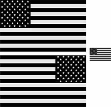 """5"""" American Flag 3M REFLECTIVE Black/White Stickers (x3) Decal Standard/Reverse"""
