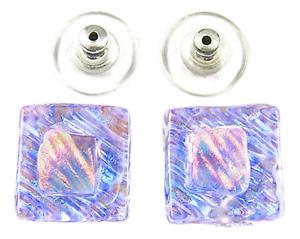 "DICHROIC GLASS Post EARRINGS 1/2"" 12mm Clear Blue Teal Orange Opal Ripple Fused"