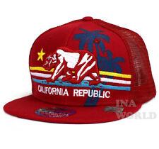 California Republic hat Bear Snapback Mesh Trucker Flat bill Baseball cap- Red