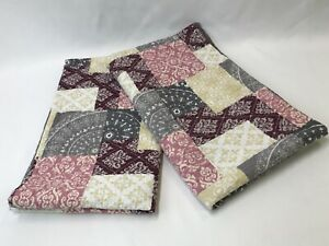 Vtg 2 King Size Quilted Pillow Sham Rustic Gray Yellow Pink Burgundy Chic Shabby