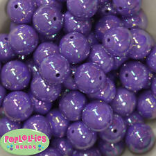 20mm Purple AB Finish  Acrylic Miracle Bubblegum Beads Lot 20 pc Chunky