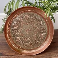 Vintage Copper Tray Large Platter Plate Candle Holder Centrepiece Bohemian Decor
