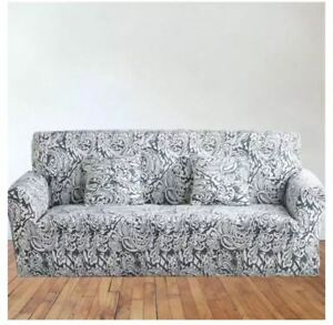 Printed Sofa Cover Slipcovers for 3 Seater - DEEP GRAY