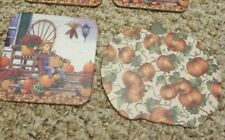 3 Longaberger Scarecrow coasters and 1 pumpkin coaster cork back New