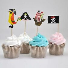 20 x Pirate Cupcake Toppers Cake Decorations Birthday Childrens Novelty Picks O2