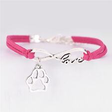 Fashion Charm Pet Dog Lover Cat Animal Bear Paw Bracelet Infinity Love Bracelep6 Blue