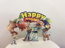 Toy Story Birthday cake topper in pick, Woody,Jess,Buzz,Bulleye & Alien display