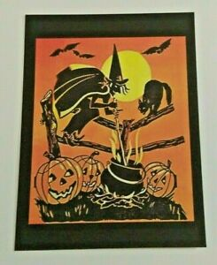 *UNUSED* Halloween Postcard: Old Witch, J-O-Ls, Bats Vintage Image~Reproduction