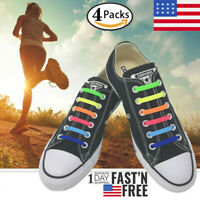4 Pairs Easy No Tie Shoelaces Elastic Silicone Flat Lazy Shoe Lace Strings Adult