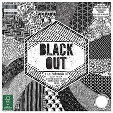 LOT 16 FEUILLE CARDSTOCK PAPIER NOIR BLANC BLACK OUT FORMES GEOMETRIQUES SCRAP