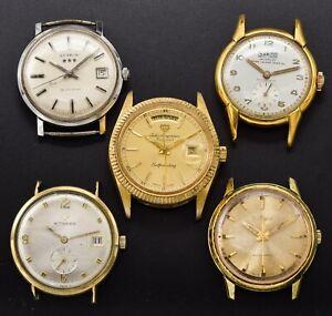 Lot of 5 Vintage Bulova Benrus Wittnauer Jurgensen & Sabina Men's Manual Watches