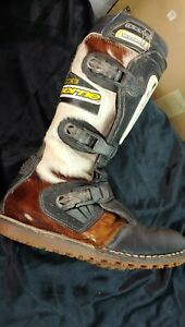 Vintage GAERNE Balance cow fur leather Motocross motorcycle boots size 9 eu 43