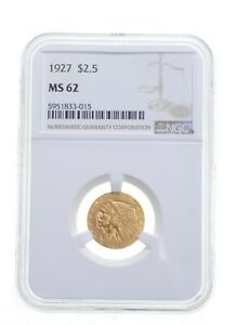 MS62 1927 $2.50 Indian Head Gold Quarter Eagle - Graded NGC *4873