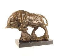 9937350-dss Große Bronze Skulptur Figur Bulle wilder Stier 32x42cm
