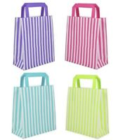 Candy Stripe Flat Handle Bags ~ Birthday Party Paper Gift Bag - Optional Tissue