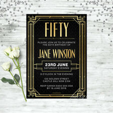 50TH BIRTHDAY INVITATIONS GATSBY 1920S AGE FIFTY PERSONALISED PARTY SUPPLIES