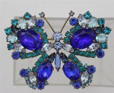 Vintage Teal Blue Amethyst Rhinestones Large Faceted Stones BUTTERFLY Brooch