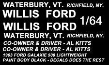 Al Kitt Willis Ford 1963 1/64th Ho Scale Slot Car Decals Nhra Drag