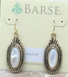 Barse Thrive Earrings- Mother Of Pearl- Bronze- New With Tags
